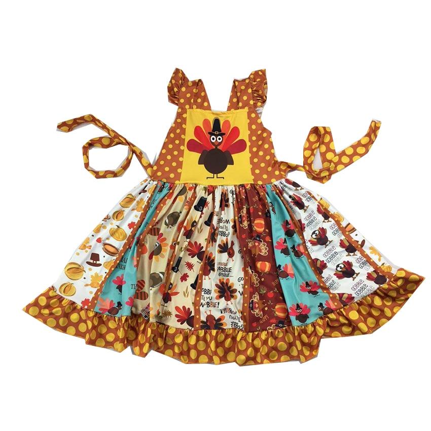 sleeveless latest design turkey pattern twirl  dress thanksgiving festival dress