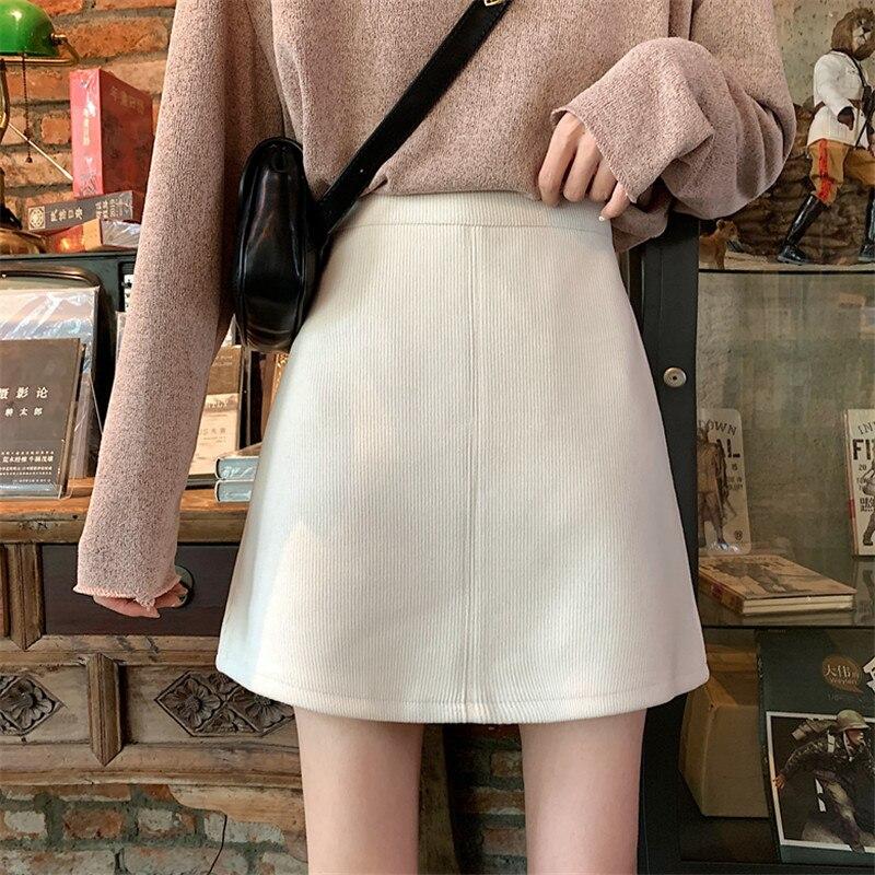 Corduroy Pencil Skirt Women Mini Skirts Autumn High Waist Warp Short Skirts A-Line Korean Vintage Slim Sexy Zipper Casual W032
