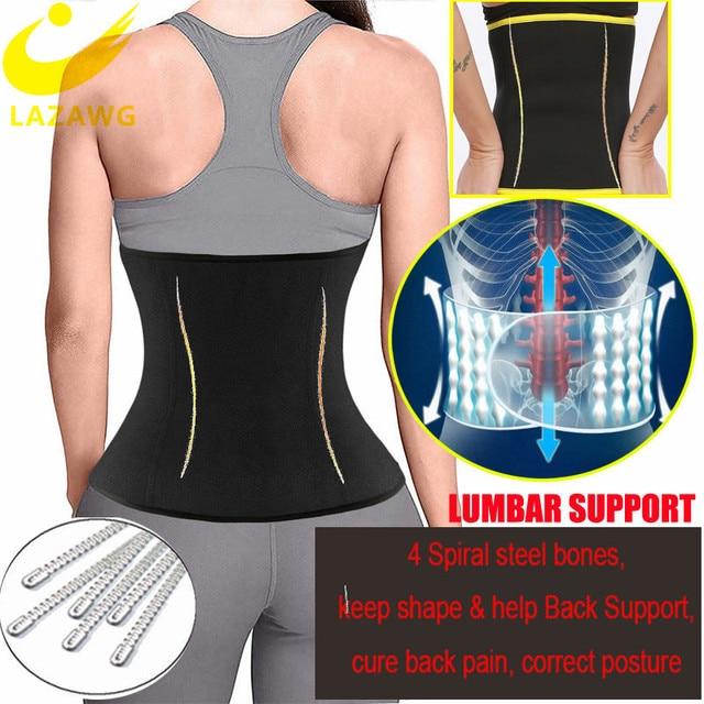 LAZAWG Women Waist Trainer Hot Sweat Neoprene Belt Fat Burn Girdle Slimming Strap Body Shaper Slim Tummy Control Waist Cincher 2