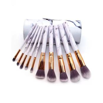 10 Pcs professional makeup brush Set tools Powder Foundation Eyeshadow Lip Eyeliner Blush Marble Face Makeup Brushes 3