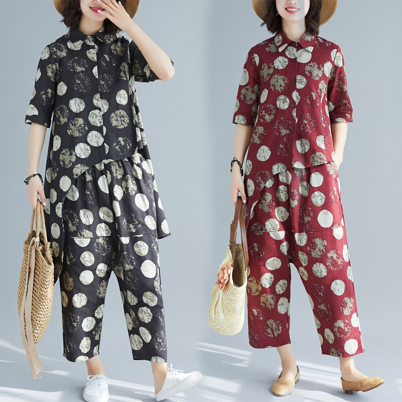 Cotton Linen Retro Loose Polka Dot Printed Polo Collar Tops Casual Collapse Pants Two Pieces-Style Set