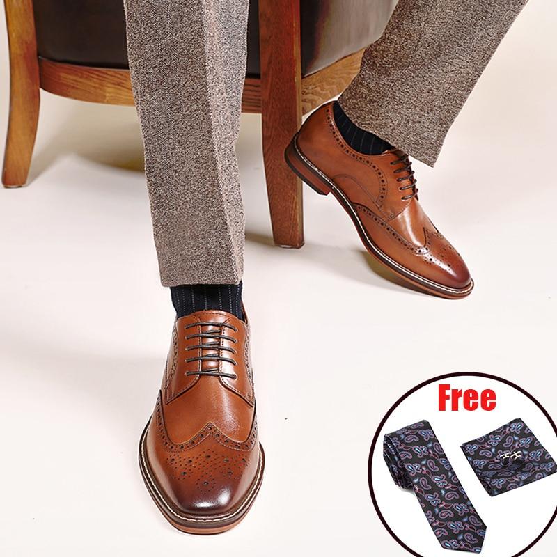 Mens Formal Shoes Suede Leather Oxford Shoes For Men Dressing Wedding Men's Brogues Office Shoes Lace Up Male Zapatos De Hombre