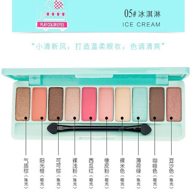 Palette de fard à paupières 10 couleurs brillant nacré glamour imperméable Non teinté cerise fard à paupières maquillage