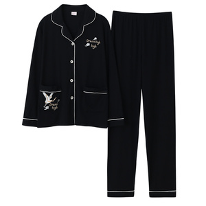 Image 4 - Azul escuro feminino outono & inverno 100% algodão pijama terno manga longa simples soild solto casa terno mais tamanho pijamas conjunto xl xxl xxxl