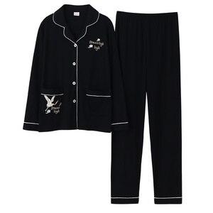 Image 4 - Pijama de algodón de 100% para mujer, traje de manga larga, liso, holgado, para casa, pijamas de tamaño grande, XL, XXL, XXXL