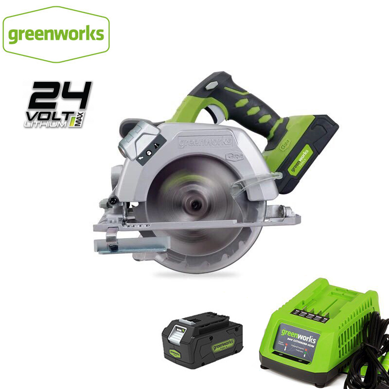 Greenworks 6-1/2 Inch G24CS 24V Battery Circular Compact Saw With 165mm 18T TCT Blade Circular Saw Woodworking Tools Wood