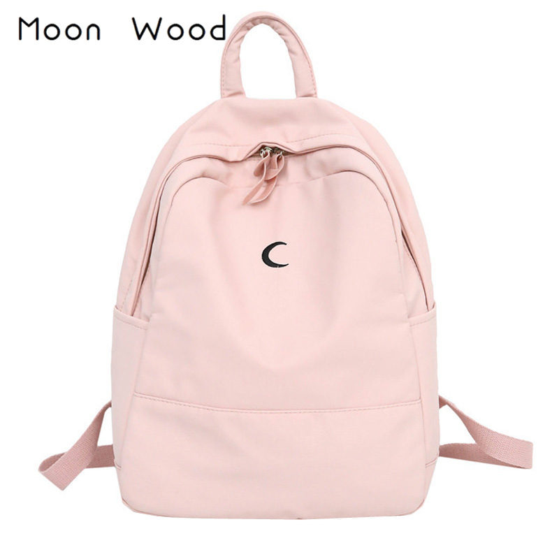 Moon Wood Candy Color Canvas Women Casual Backpack Sweet Printing Moon Girls School Bags Laptop Bagpack Mochilas Mujer 2019