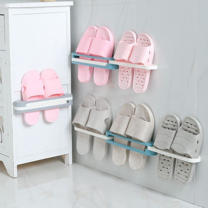 Slipper Rack Bathroom Wall-Mounted Foldable Slippers Rack Free Punch Toilet Wall-Mounted Three-In-One Shoe Rack