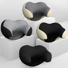 Car Neck Headrest Pillow Head Support  Auto Black Safety Pillow Universal Decor  PU Leather  Nitted Car Accessories   Backrest