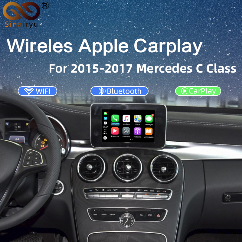 Sinairyu 2020 Wireless Apple CarPlay Retrofit <font><b>for</b></font> <font><b>Mercedes</b></font> 2015-2019 Car Play Support Rear Camera with Android Mirroring/Auto image