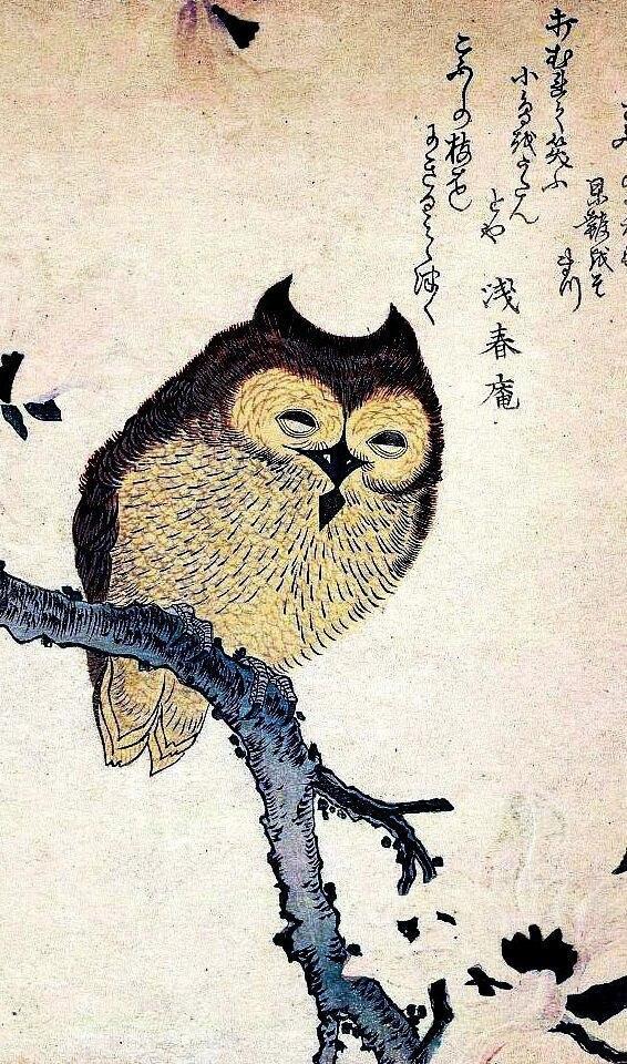 Винтажный Шелковый плакат с изображением азиатской японской китайской совы для домашнего декора, 24x36 дюймов