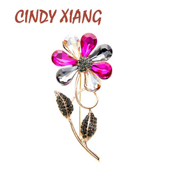 CINDY XIANG New Arrival Flower Brooches For Women Elegant Wedding Pin Fashion Brooch High Quality Good Gift New 2020 cindy xiang 4 colors avaibale crystal flower brooches for women wedding pin pendant brooch spring new arrival high quality gift