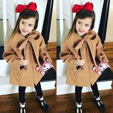 Теплое шерстяное пальто-Тренч с бантом для маленьких девочек верхняя одежда, куртка