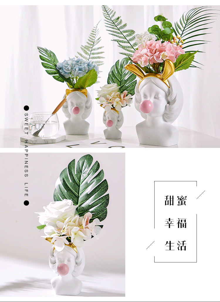 Creative Nordic style Resin vase Cute girl bubble gum Decorative smal flower pot modern lovely Art decoration Flower arrangement (3)