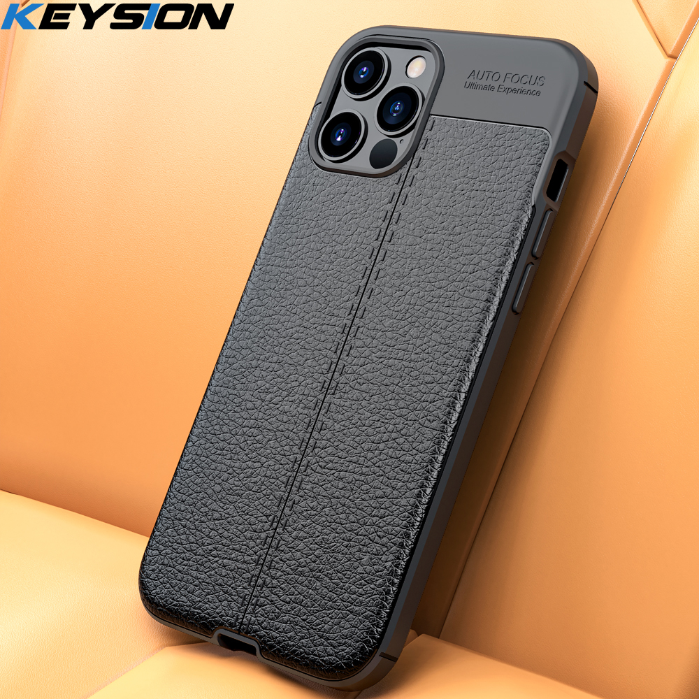 KEYSION Phone Case for iPhone 12 12 Mini Litchi leather texture TPU silicone Shockproof Black Cover for iPhone 12 Pro 12 Pro Max