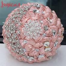 WIFELAI-A European Diamond Bride Bridesmaid Bouquet Champagne Stain Rose Holding Flowers Artificial Wedding W571