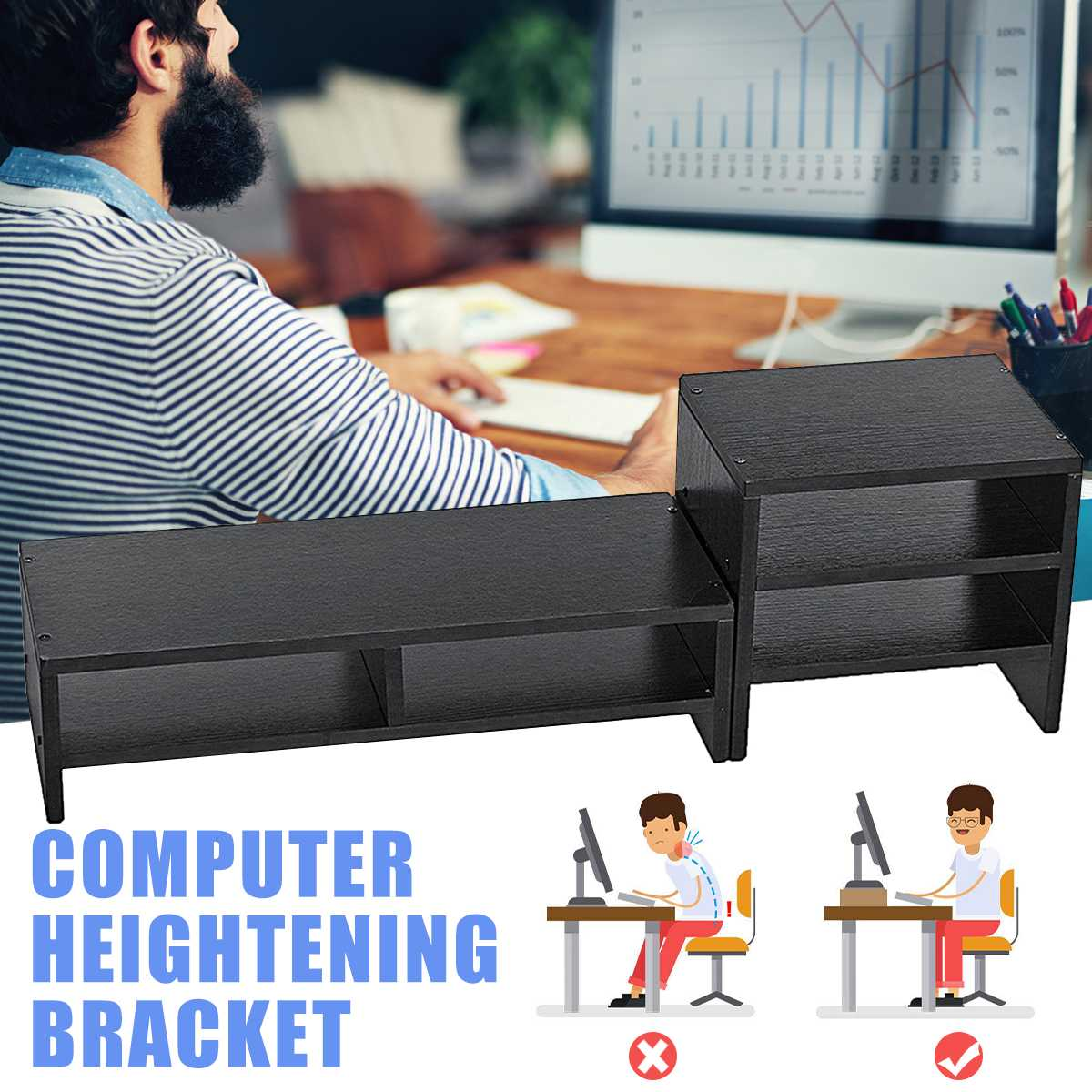 Office Furniture Computer Desks Laptop Monitor Stand Riser Table Holder Wood Multi-function Storage Organizer For Computer TV