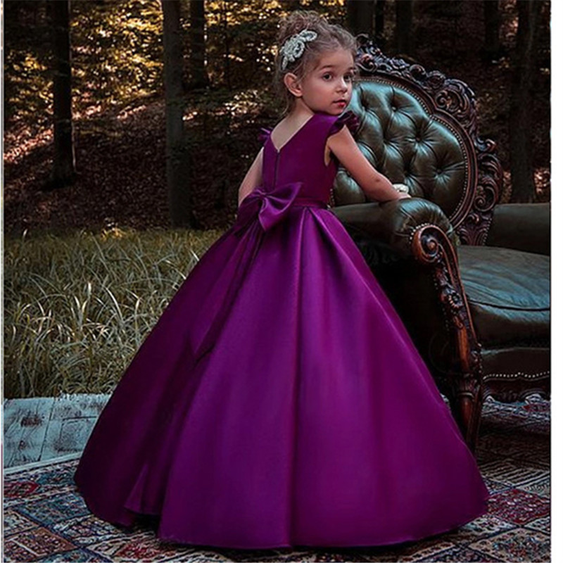 Purple Flower Girl Dress For Wedding Girls First Communion Dress Satin Princess Gown With Beading Sash Elegant Kids Dresses