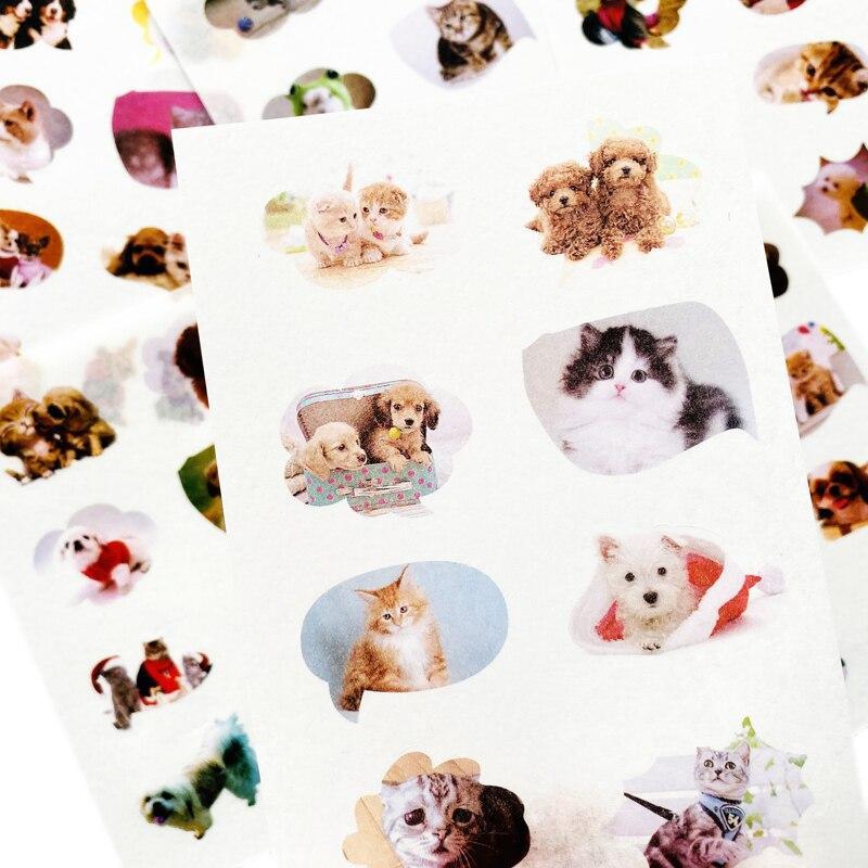 6 Sheets Kawaii Pet Dog & Cat Paper Sticker Adhesive Craft Stick Label