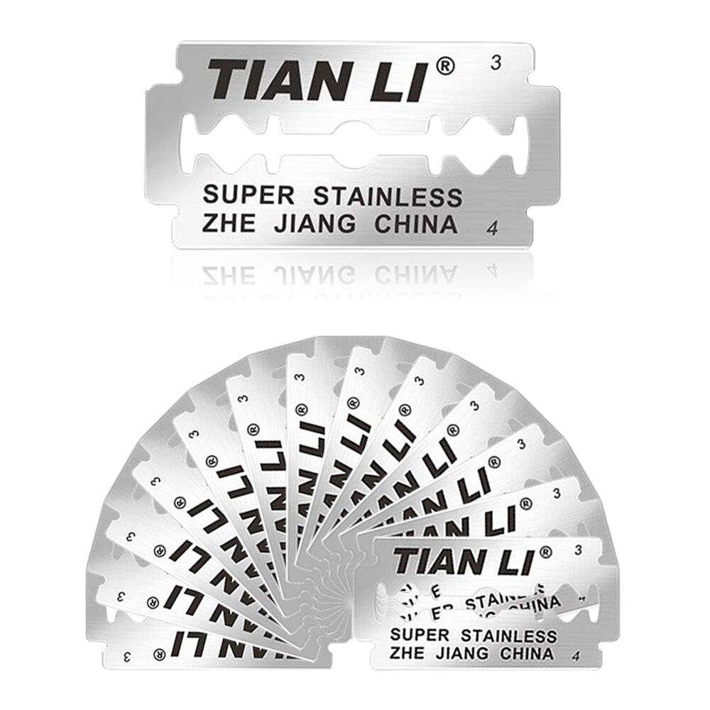 25pc Safety Shaving Razor Blades Sharpener Blade Head Platinum Stainless Steel Double Edge Beard Heads For Men