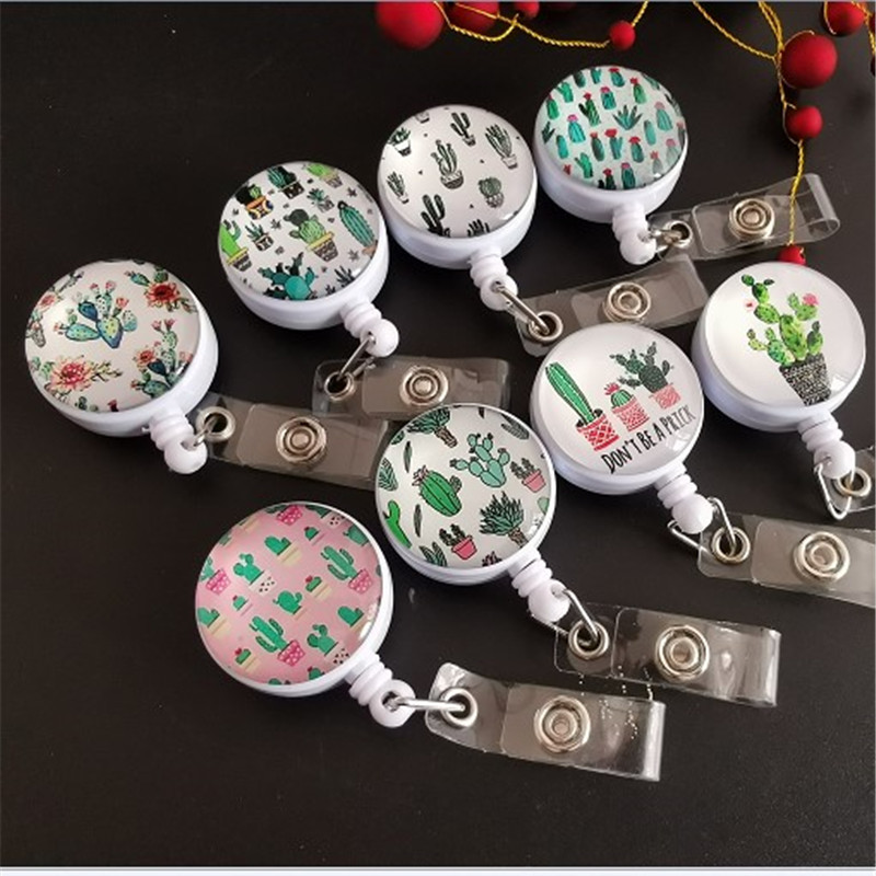 Green Cacti Retractable Badge Holder Reel Exhibition Enfermera Students Girls Name PU Card Hospital Office Chest Card