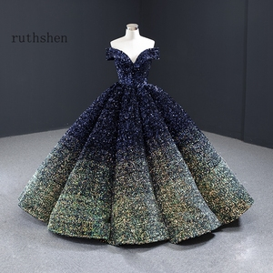 Image 4 - Dreamy Sequin Evening Dresses Long Off Shoulder Fluffy Luxury Princess Formal Party Prom Dress