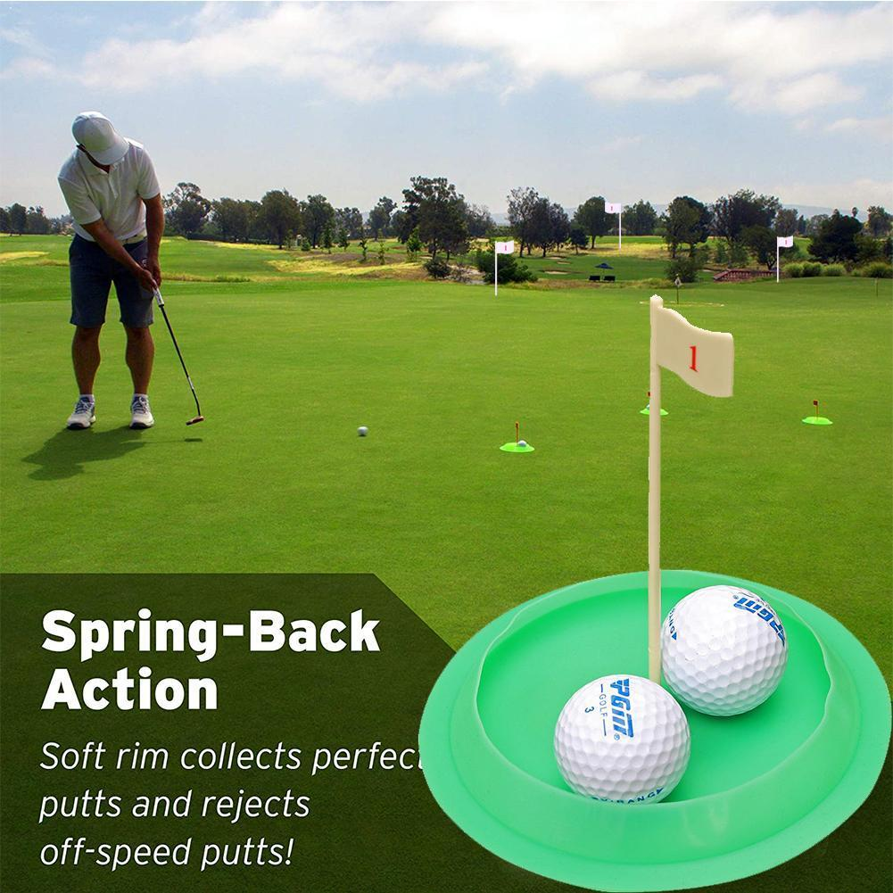 Green All-Direction Golf Putting Cup Soft Rubber Practice Flag Outdoor Putter Tool Indoor Green Training Hole C7B6