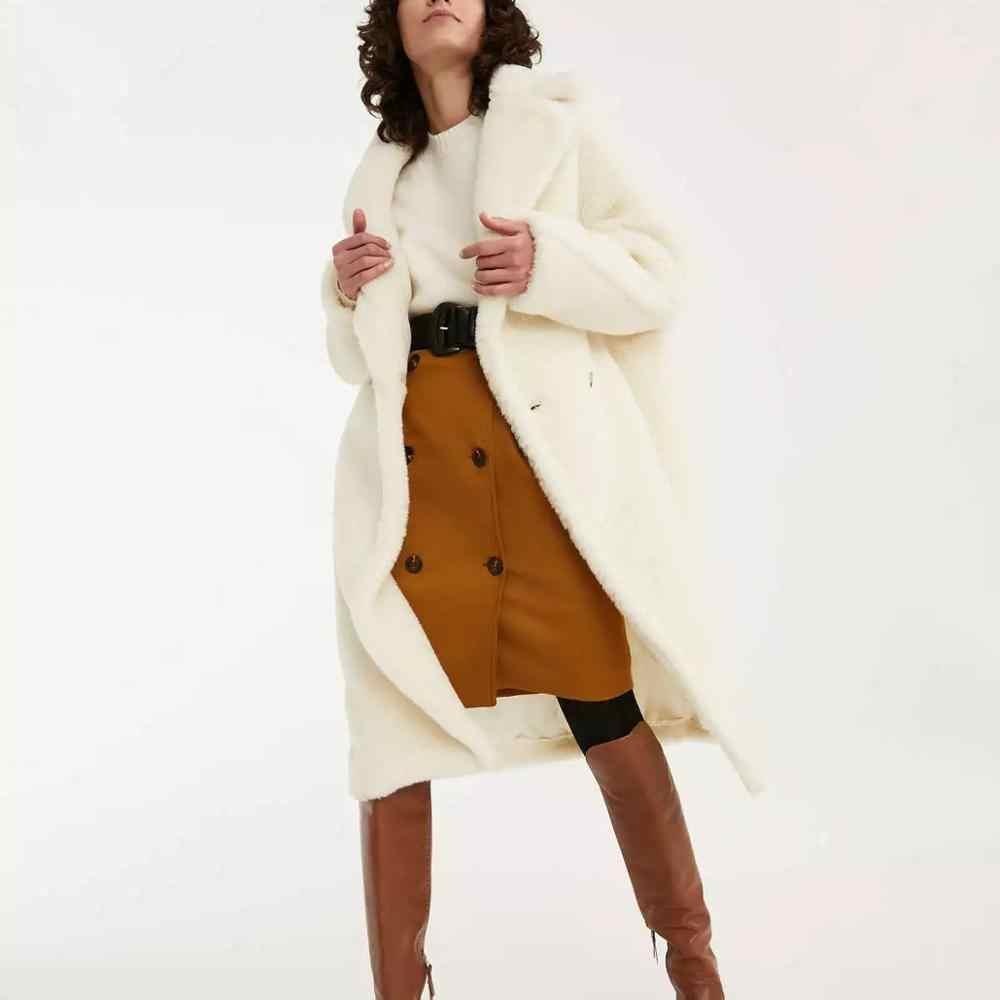 ZA Autumn Winter women Furry Faux Fur Coat lambswool loose oversize Warm Outerwear Coat fur Jacket Fashion Overcoat female
