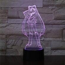 USB 3D LED Nacht Licht Tsukino Usagi Figur Dekoration Jungen Kind Kinder Baby Geschenke Japanischen anime Sailor Mond Tisch Lampe nacht