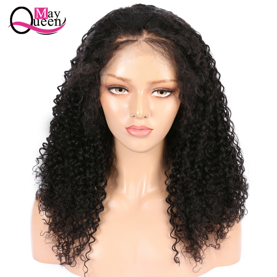 May Queen Curly Lace FrontWig 13x4 Wig 150 Density Human Hair Wigs For Women Black Pre Plucked Brazilian Frontal Wig Remy