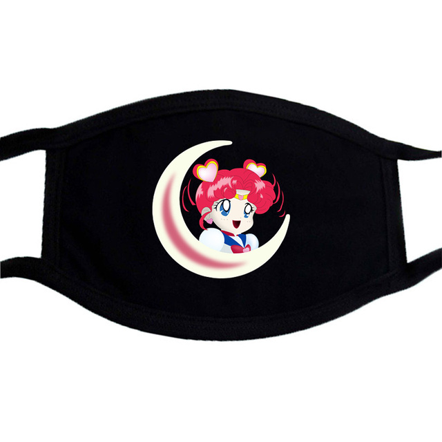 Sailor Moon Cartoon Cute Mask Mouth Muffle Face Dustproof Masks Black Casual Keep Warm Masks Anti-dust Japanese Anime Mask 5