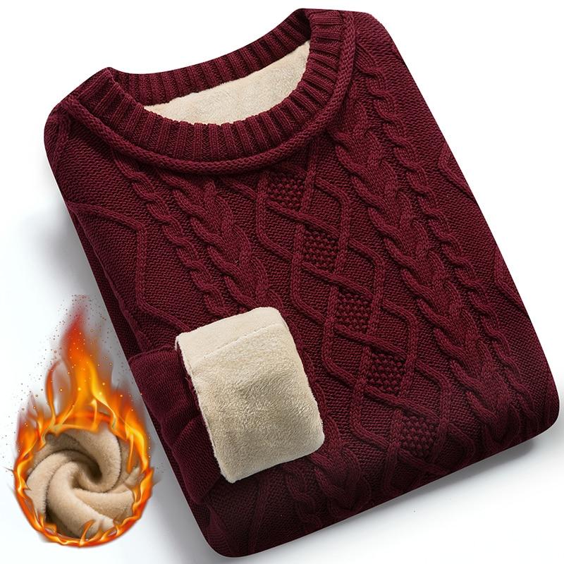Winter Men Sweater Plus Velvet Keep Warm 2020 New Arrival Slim Thick Male Pullover Sweater Teenage Boys Korean Style M37