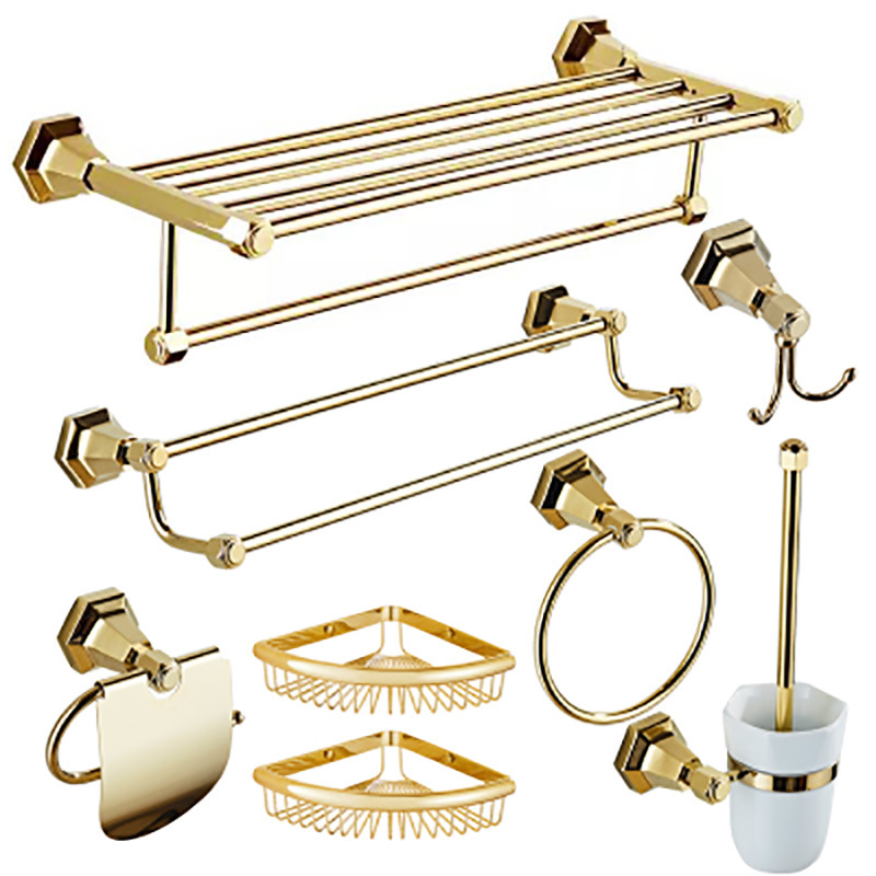 European Solid Brass Towel Rack Gold Shiny Bathroom Hardware Accessories Soap Dish Ceramic Toothbrush Holder Metal image