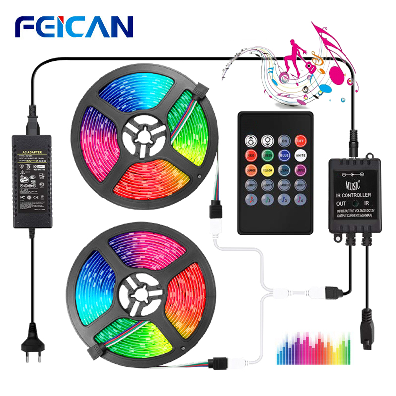 LED Music Strip Light RGB Set 5050 2835 LED Tape Music LED Stripe Sound Sensor 20Key Controller RGB Strip Backlight Ribbon