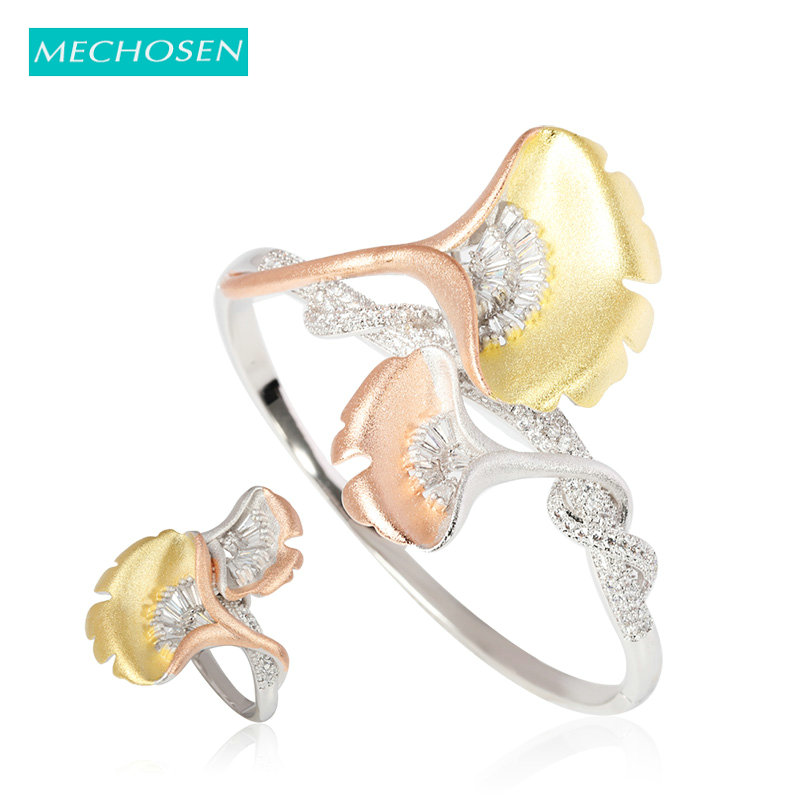 MECHOSEN Classic Frosted Copper AAA Zircon <font><b>Nigeria</b></font> <font><b>Jewelry</b></font> <font><b>Set</b></font> <font><b>For</b></font> Wedding Banquet Bride <font><b>Women's</b></font> Hand Bangle Ring <font><b>Set</b></font> Best Gifts image