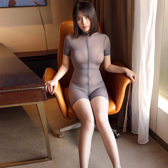 See through Sexy Women Zipper Open Crotch Bust High Cut Bodysuits Ice Silk Smooth Shiny Playsuit Jumpsuit Shaping Dance Wear 2
