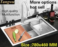 Free shipping Apartment luxury kitchen manual sink single trough food grade stainless steel standard hot sell 78x46 CM