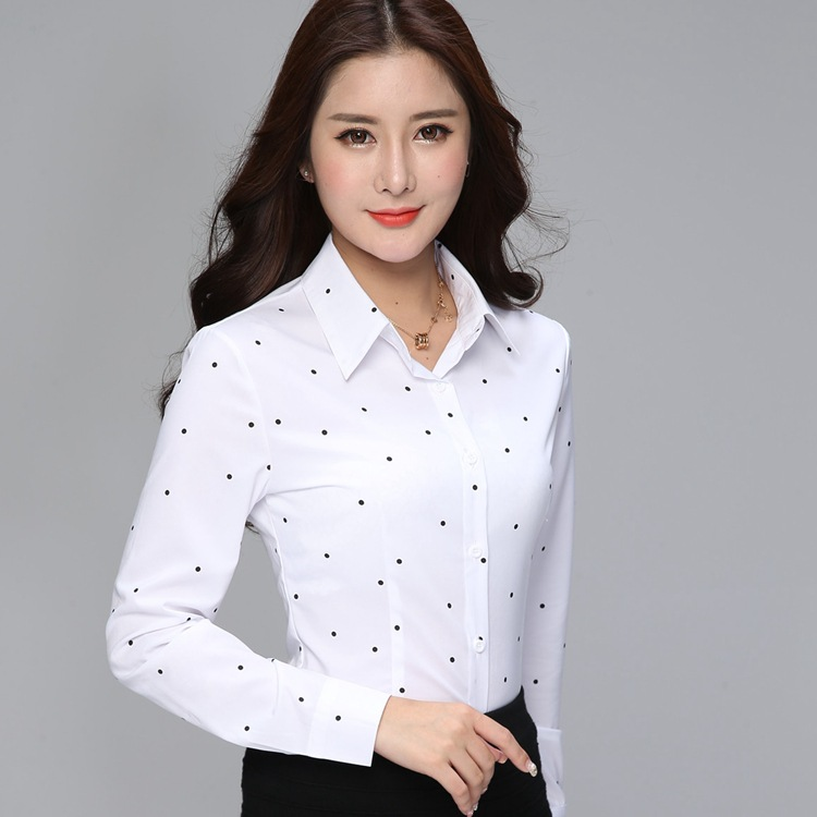BIBOYAMALL Elegant Striped   Shirts   Women Tops Women's   Blouses   2018 Spring Women   Blouses   Office Lady Large Size 3XL Women Dot Tops