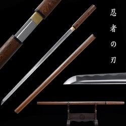 Real Katana de acero al carbono 1060 de madera rosa de funda completa Tang hoja afilada listo para de-espadas de ninja