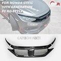 Для Honda 16-18 10th Gen Civic FC KG-Style углеродное волокно передний гриль глянцевая отделка решетка бампера набор Fibre Drift Grills Cover Kit