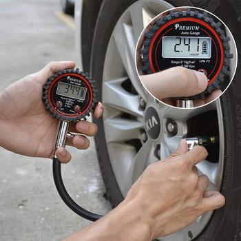 Wskaźnik ciśnienia w oponach 0-100PSI High Precision cyfrowe monitorowanie ciśnienia powietrza w oponach samochód motocykl wskaźnik ciśnienia w oponach rowerowych tanie i dobre opinie darhor DIGITAL 100-149 PSI 1 9 Cali i Pod