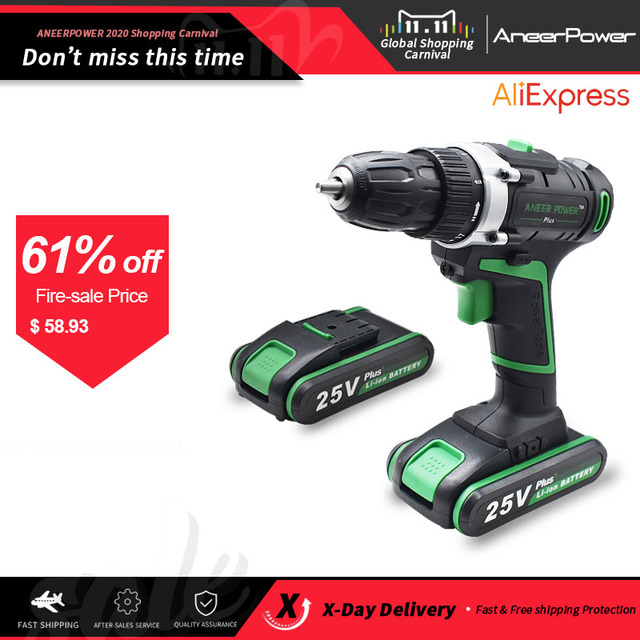 25V Plus Cordless Drill Electric Drill Electric 2 Batteries Mini Screwdriver Power Tools Drilling Tighten and Loosen The Unscrew