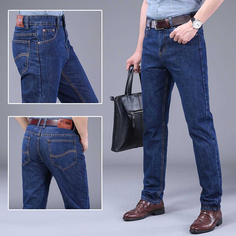 2019 осенние джинсы мужские повседневные деловые хлопковые облегающие джинсовые брюки подходят джинсы весенние прямые джинсовые брюки мужские тонкие мужские джинсы