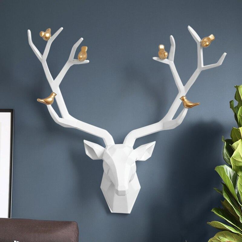 เรซิน 3D Big Deer HEAD Decor สำหรับตกแต่งรูปปั้นอุปกรณ์เสริมบทคัดย่อประติมากรรมสัตว์หัว Room Wall Decor