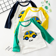 Baby Boys Casual  Clothes Girls Cartoon Cotton T Shirts Children Printed Tees Long Sleeve Kids Tops