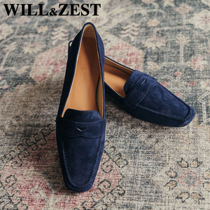 Will&Zest Women'S Suede Low Heels Woman Loafers Navy Blue Burgundy Flats Wood Platform Trendy Shoes Fashion Real Leather Luxury