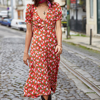2020 New Women Flowers Print Midi Dress V-neck lady Lantern Sleeve Dating Fairy Floral Female Long dresses With Buttons 1