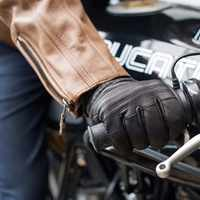 2019 Abbey Road Retro Classic Touchscreen Black Leather Gloves Motorcycle Motocross Racing