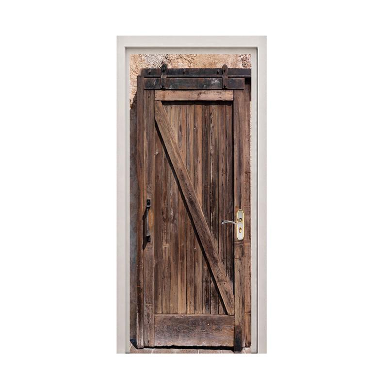 1pc Simulated Wooden Door Pattern Door Sticker Waterproof Removable Door Decals Door Sticker For Restaurant Hotel Cafe