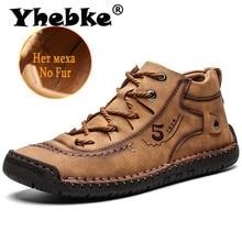 Yebke − bottines de moto fendues en cuir pour hommes, classiques, confortables et épaisses, en peluche, bottes dextérieur